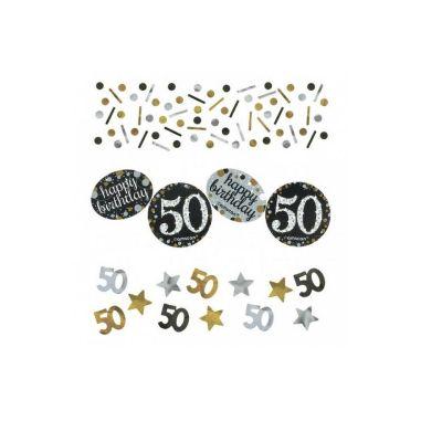 Trio de Confettis 50 Ans - Or / Argent