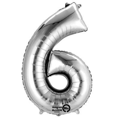 Méga Ballon Hélium - Chiffre 6 - Argent