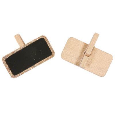 6 Mini Ardoises Pailletées sur Pince - Rose Gold | jourdefete.com