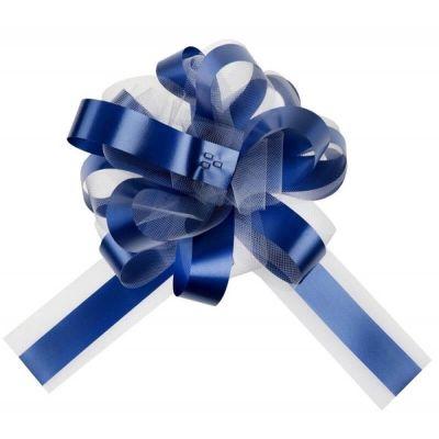 noeud automatique tulle bleu marine | jourdefete.com