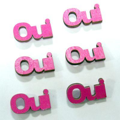 """Décoration de Table """" Oui"""" en Bois Sachet de 6"""