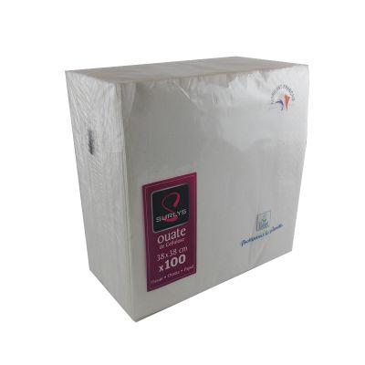 100 Serviettes Ouate de Cellulose Blanc