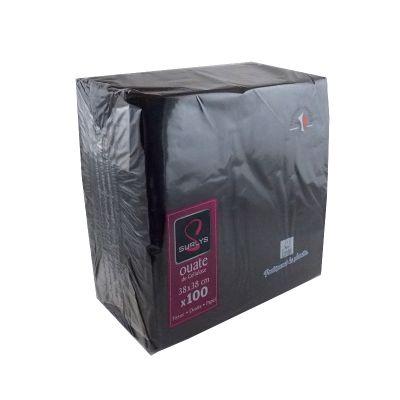 100 Serviettes Ouate de Cellulose Noir