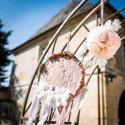 12 Grosses Perles en Bois - Paillettes Rose Gold | jourdefete.com