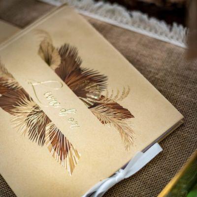 livre d or palm chocolat sable et or   jourdefete.com