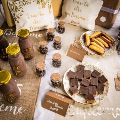 Fiole en Verre avec Bouchon en Liège - Parrain - Or   jourdefete.com
