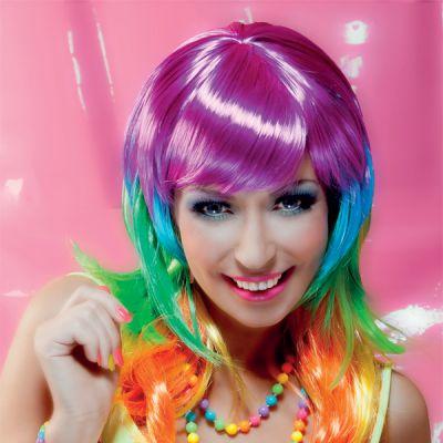 Perruque Fluo Multicolore Femme