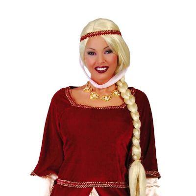 perruque tresse blonde pour adulte | jourdefete.com