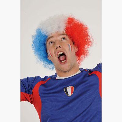 Perruque de Supporter France - Bleu Blanc Rouge