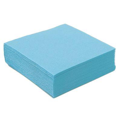 50 Petites Serviettes Microgaufrées - Bleu ciel