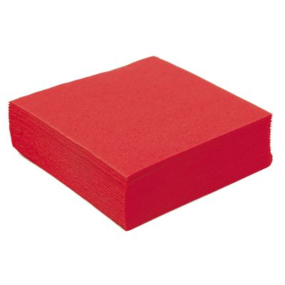 50 Petites Serviettes Microgaufrées - Rouge