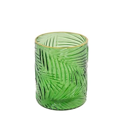 Photophore verre feuilles relief  | jourdefete.com