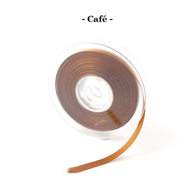 Ruban satin 6mm coloris au choix - Café