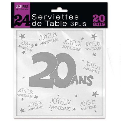 24 Serviettes de table blanches – 20 ans