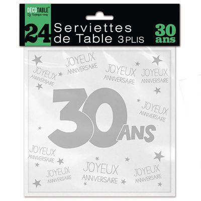 24 Serviettes de table blanches - 30 ans