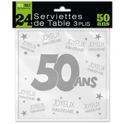 24 Serviettes de table blanches - 50 ans