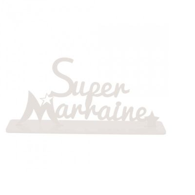 """Décoration """"Super Marraine"""" - Blanc"""