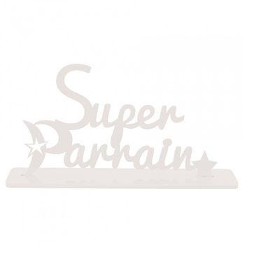 """Décoration """"Super Parrain"""" - Blanc"""