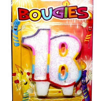 bougie anniversaire 18 ans multicolore