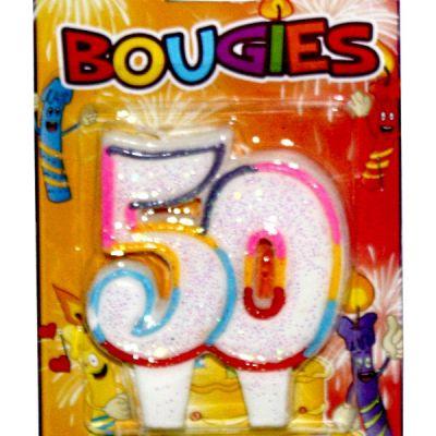bougie anniversaire 50 ans multicolore