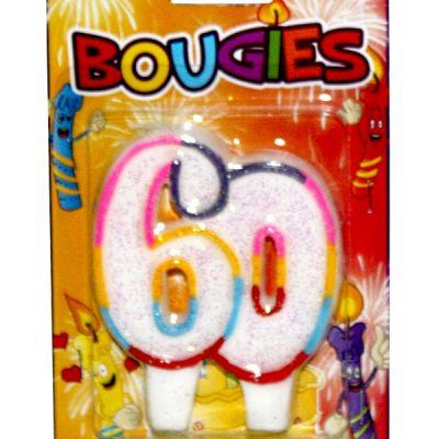 bougie anniversaire 60 ans multicolore