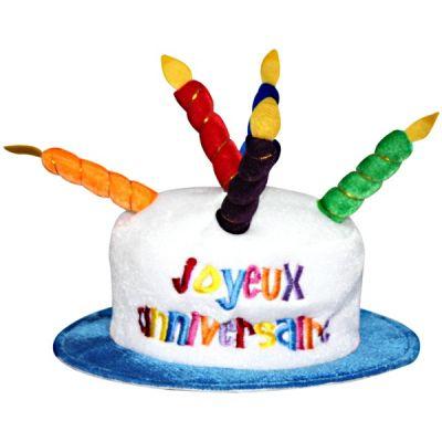Chapeau Joyeux anniversaire blanc