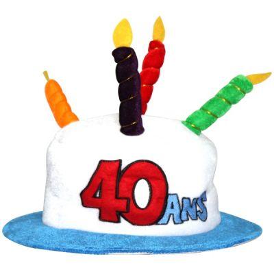 Chapeau Anniversaire 40 ans blanc