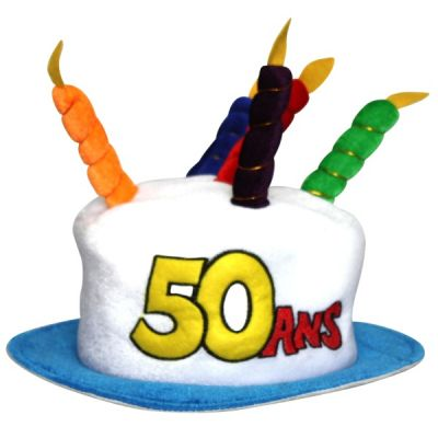 Chapeau Anniversaire 50 ans blanc