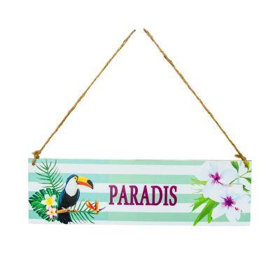 Plaque en Bois Tropicale - Paradis   jourdefete.com