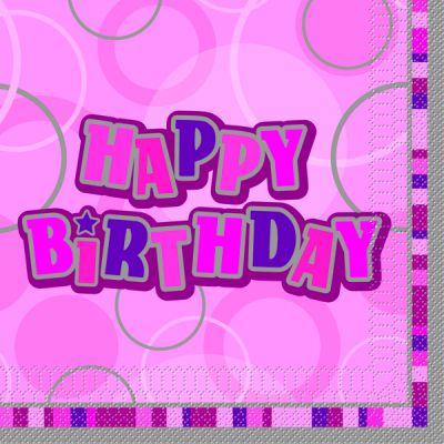 serviette en papier anniversaire Happy birthday rose