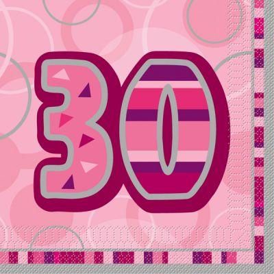 serviette en papier anniversaire 30 ans rose