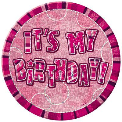 badge anniversaire glitz noir rose