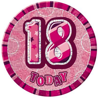 badge anniversaire glitz rose 18 ans