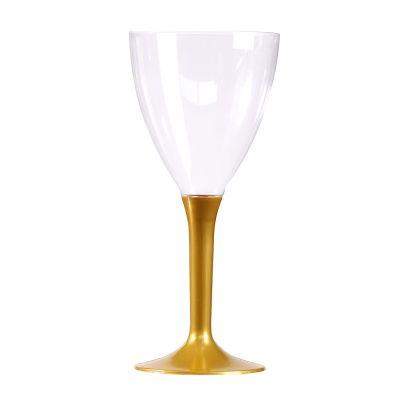 10 Verres à Vin Plastique Pied Or