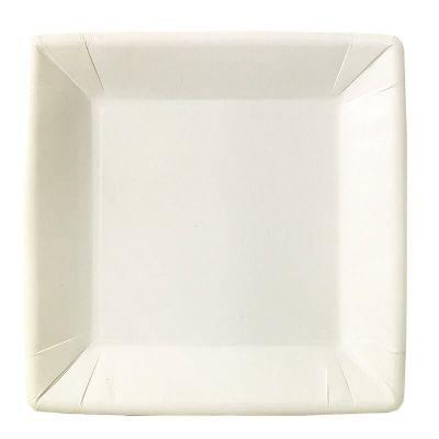 20 Assiettes Carrées en Carton - Blanc