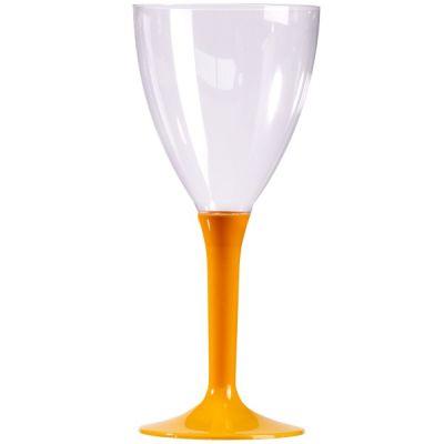 10 Verres à Vin Plastique Pied Orange