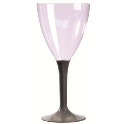 10 Verres à Vin Plastique Pied Taupe