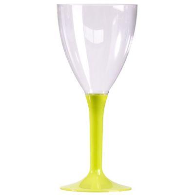 10 Verres à Vin Plastique Pied Vert / Anis