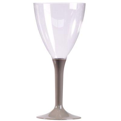 10 Verres à Vin Plastique Pied Gris