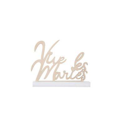 Lettres Vive les maries 18cm sur socle couleur naturel | jourdefete.com