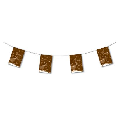 Guirlande papier Mariage Chocolat de 4 mètres avec 8 fanions 20x30 cm