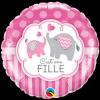 """Ballon Métallique Hélium Rond Eléphant - """"C'est une fille"""""""
