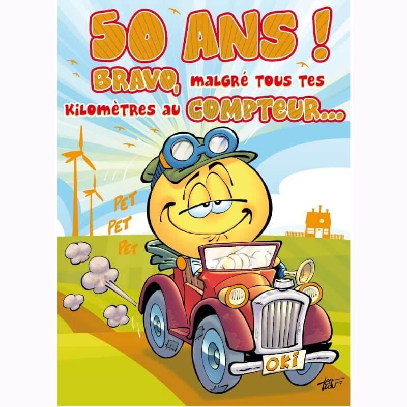 Emoticone Anniversaire 50 Ans.Carte D Anniversaire Maxi Format Avec Enveloppe 50 Ans